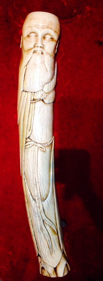 VERY OLD RARE ASIAN IVORY FIGURE LARGE BUDDHA