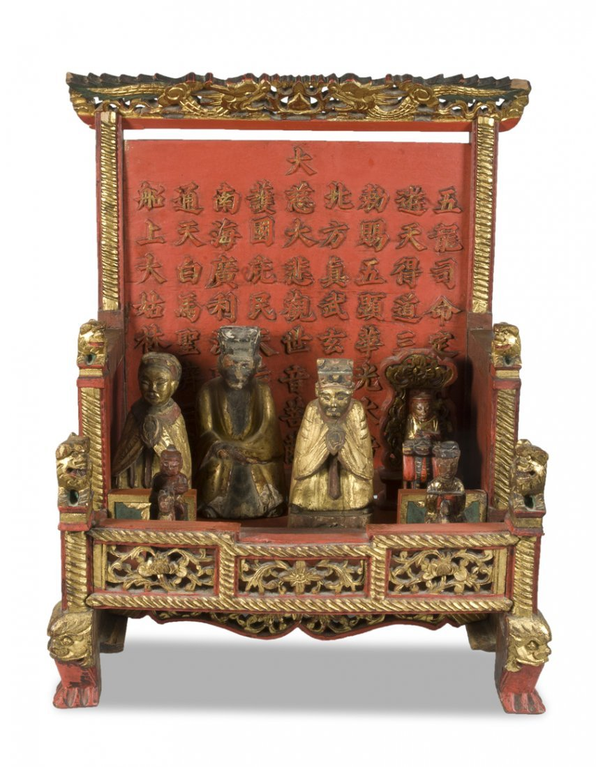ANTIQUE CHINESE RELIGIOUS ALTAR POLYCHROMED