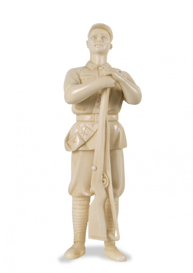 Chinese cultural revolution carved Ivory soldier