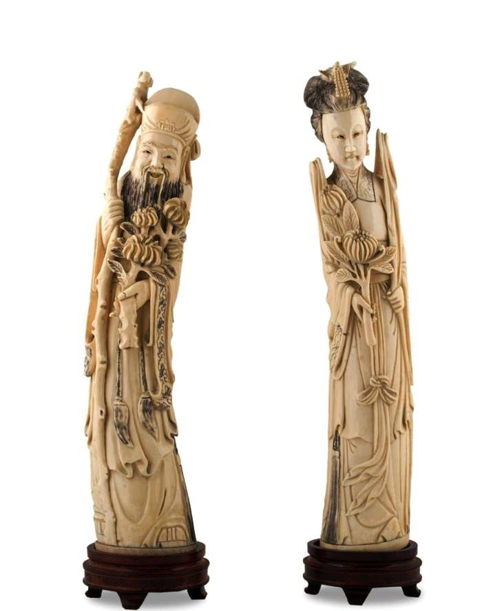 CHINESE IVORY PAIR FIGURINE HAND CARVED