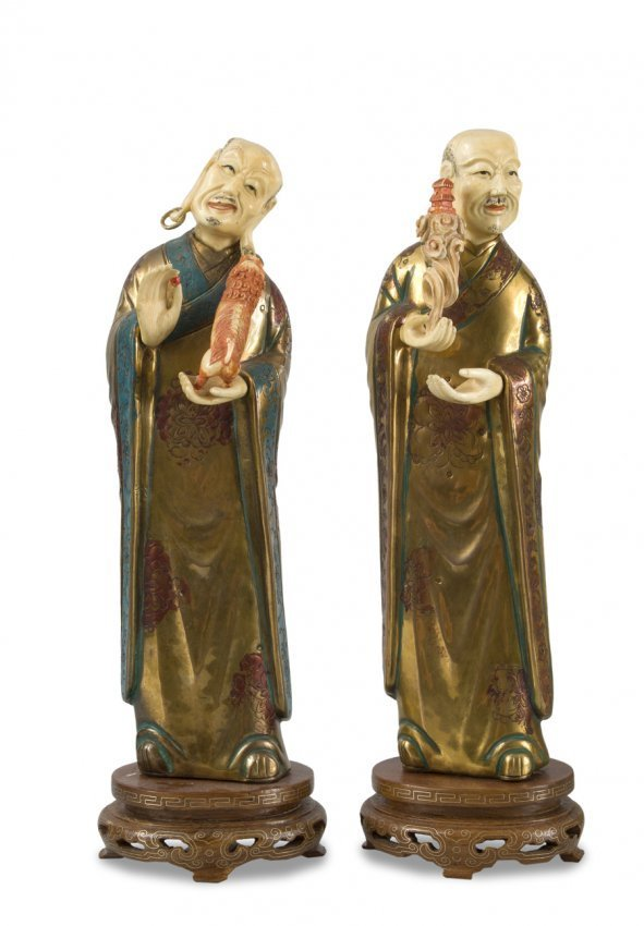 CHINESE BUDDHA BRONZE AND IVORY PAIR