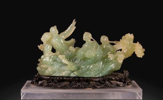 CHINESE JADE GROUP FIGURE CULTURAL REPUBLIC PERIOD
