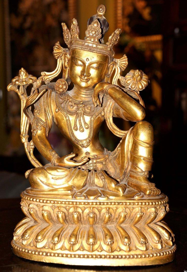 CHINESE BRONZE BUDDHA GOLD GILTED AVALOKITESHVARA