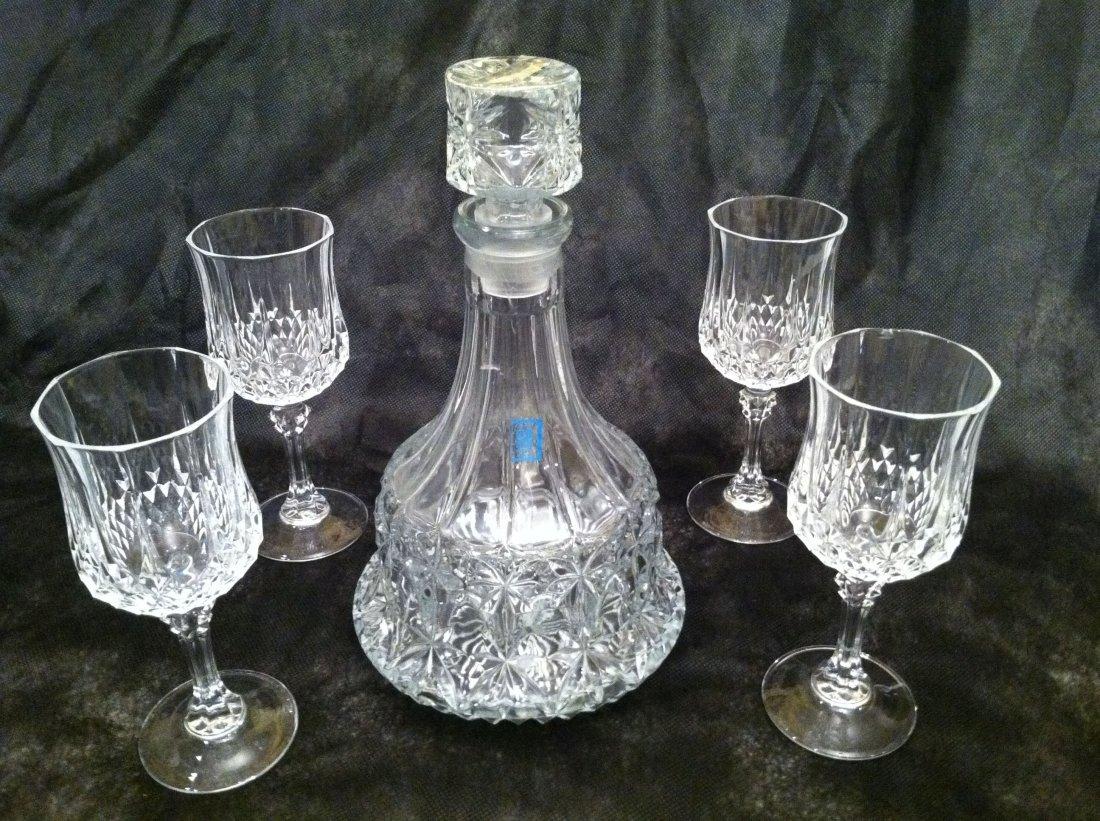 5PC DECANT. CUT CRYSTAL GLASS SET