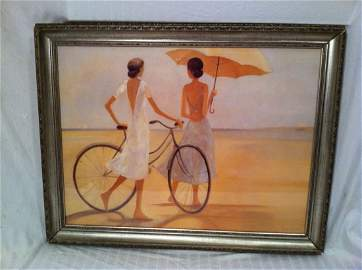 DAMSEL BICYCLE WATERCOLOR ORIG.