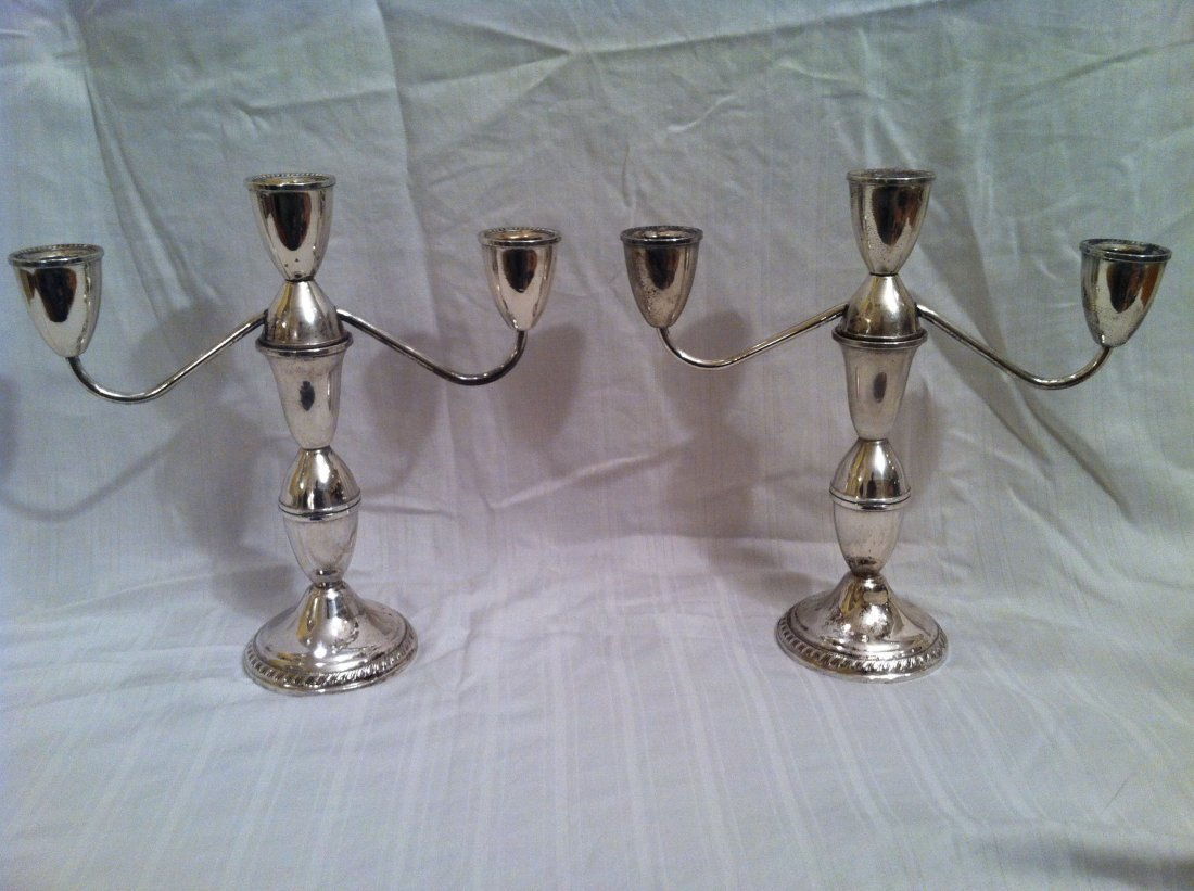 PAIR OF DUCHIN CREATION STERLING WEIGHTED CANDLESTICKS
