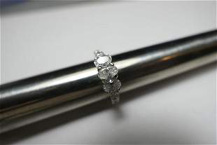 14k gold engagement ring w3 large oval diamonds