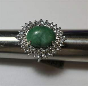 Brilliant Sterling Silver green jade and clear stone