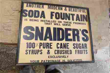 Snaide's Soda Fountain Advertising Poster or Sign
