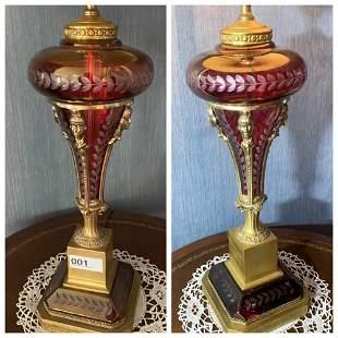 Pair of VIntage Bohemian Ruby Cut Glass Lamps