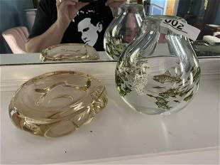2 Pcs MCM Glass - Orrefors Fish by Edward Hald