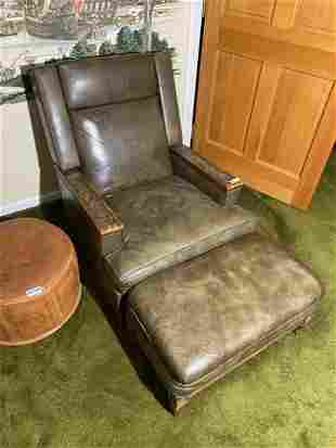 Vintage green leather morris chair
