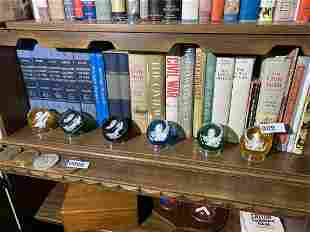 Group of 6 Baccarat Glass Sulphide Paperweights