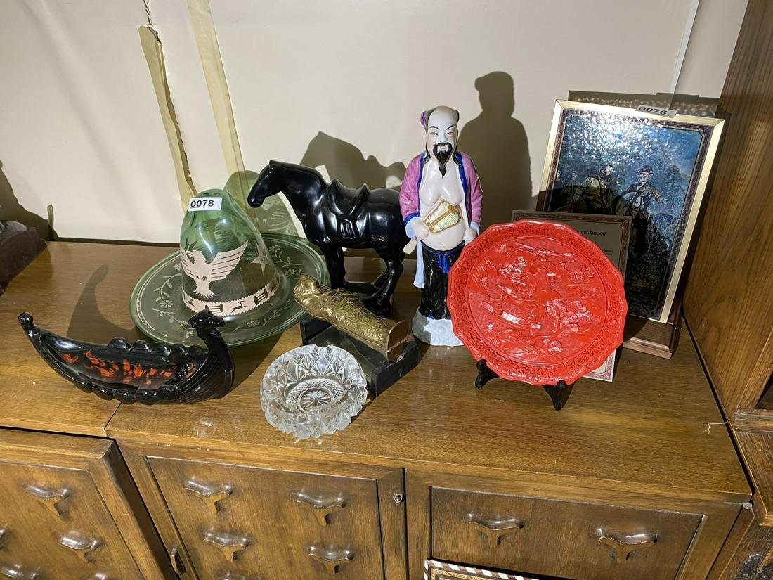 Group lot Chinese, Egyptian, Mexican glass, ceramics
