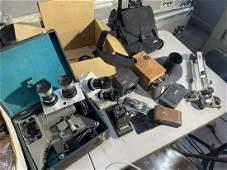 Large lot of assorted antique, vintage cameras, lenses
