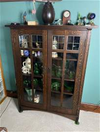 Arts & Crafts Mission Leaded Glass Bookcase