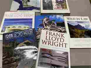 Group of books on Frank Lloyd Wright and more
