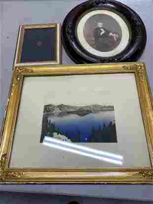 Hand tinted photograph of Crater Lake and more lot