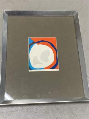 Vintage Op Art Multi Color Screen Print in Frame