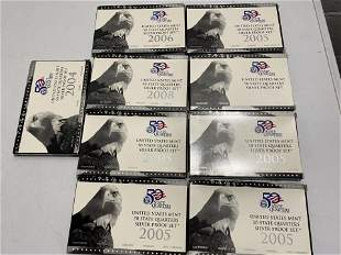 9 Silver State Quarters Sets in packaging