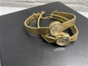2 14k gold lady's watches heavy 14k gold bands