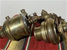 2 Antique Brass Oil Lamp Sconces