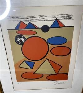 Vintage Signed Alexander Calder lithograph - Pyramids
