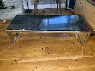 Chrome and Marble Mid-century Modern Coffee Table