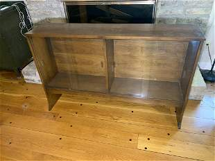 Glass Front Walnut Mid-century Modern Bookcase with