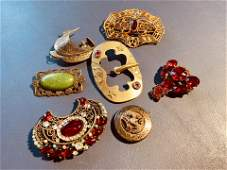 Group lot vintage and antique costume jewelry