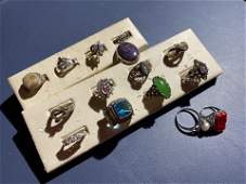 13 sterling silver rings including jade