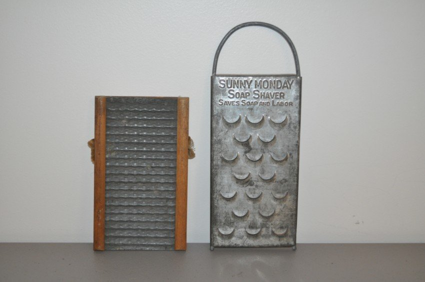 Old soap shaver and small hosiery washboard.