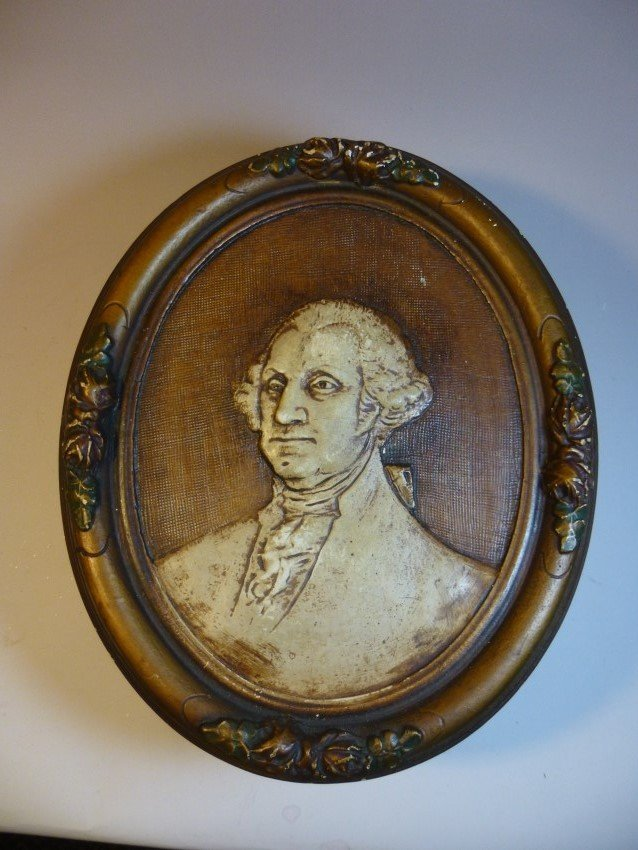 Antique Ceramic George Washington Plaque