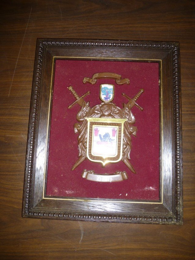 Vintage Dailey Family Crest in frame.