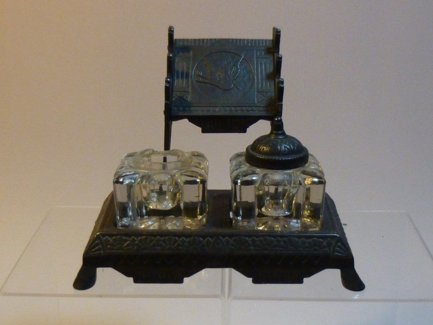 Antique elaborate inkwell and pen holder.