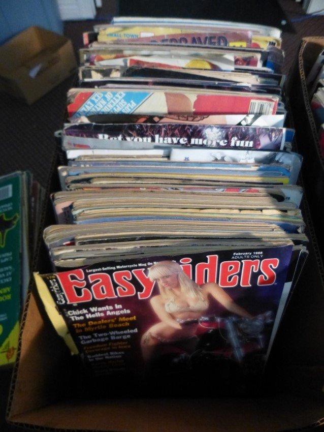 Large box lot of vintage porn and biker porn magazines.