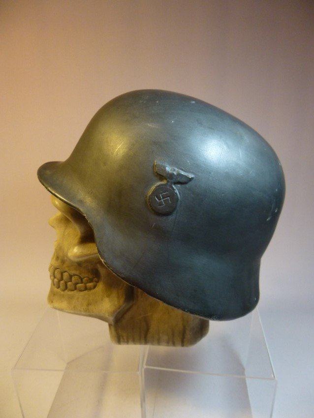 Ceramic Skull w/Nazi German Helmet.