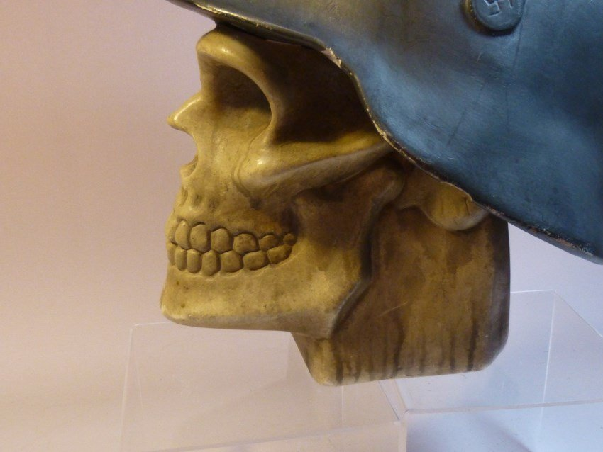 Ceramic Skull w/Nazi German Helmet. - 3