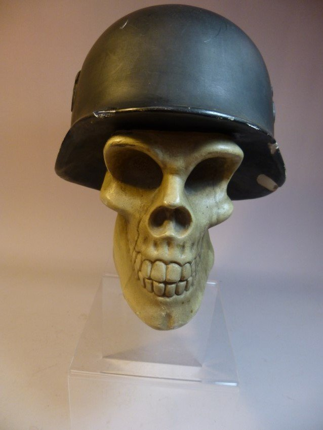 Ceramic Skull w/Nazi German Helmet. - 4