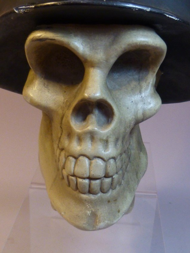 Ceramic Skull w/Nazi German Helmet. - 5