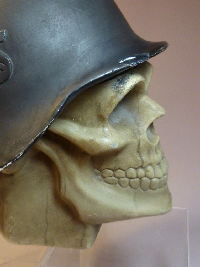 Ceramic Skull w/Nazi German Helmet. - 8