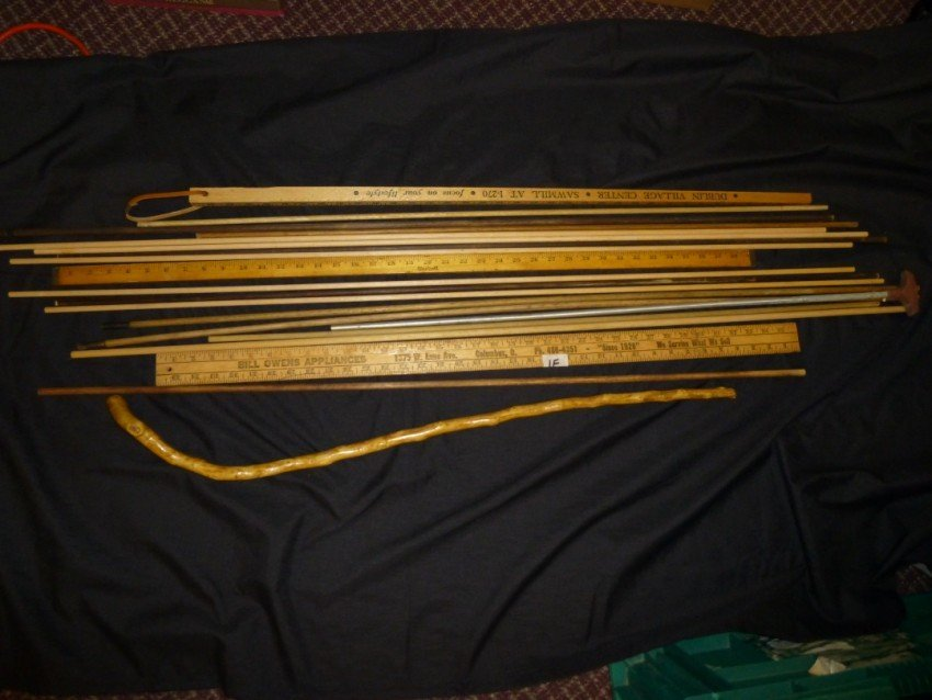 Lot of rulers, ramrods, cleaning rods, cane etc.
