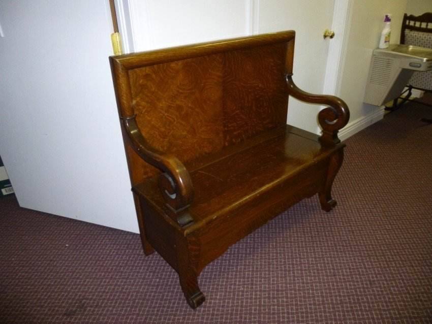 Antique Oak Bench with Under Seat Storage.