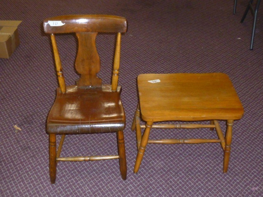 Antique wooden chair and stool.