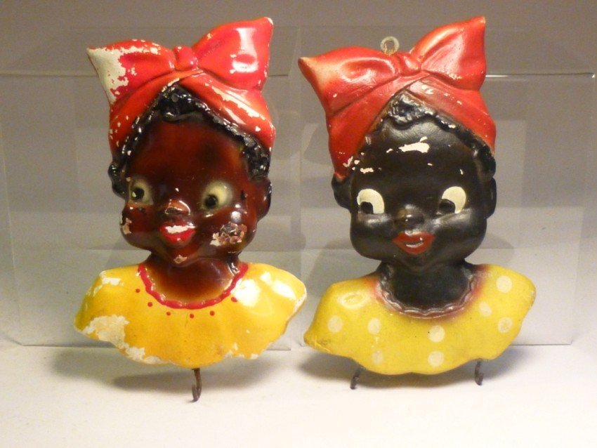 Chalk ware wall hangers - Black Girls.