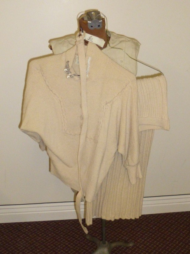 Vintage Belted Lady's Sweater and Skirt Set