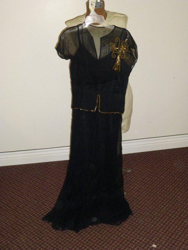 Long black art deco dress