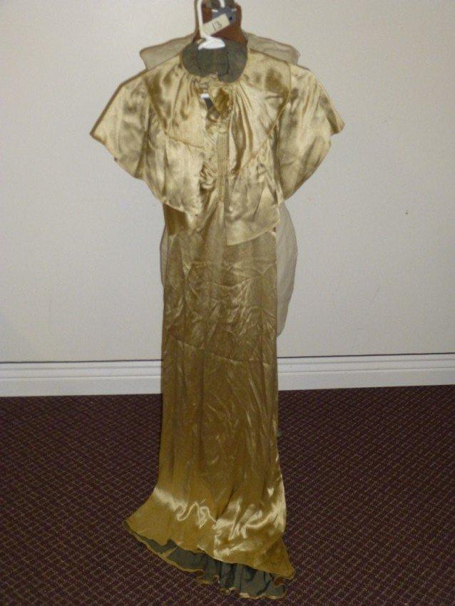 Gold Long Vintage Dress with Shrug.