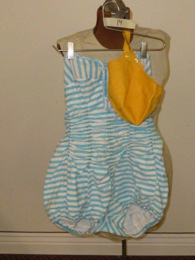 Fun Vintage Striped Bathing Suit w/Cap