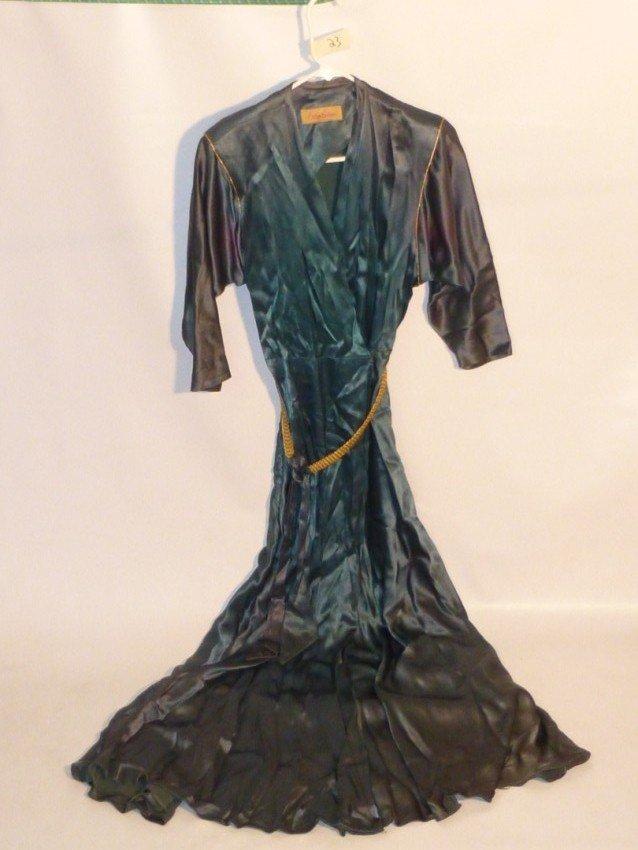 Vintage Long Satin Belted Dress